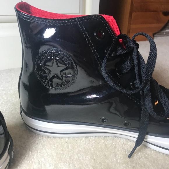 Converse Shoes   Mens Black Shiny